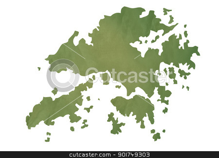 Old green map of Hong Kong Islands stock photo, Old green map of Hong Kong Islands in textured green paper, isolated on white background. by Martin Crowdy