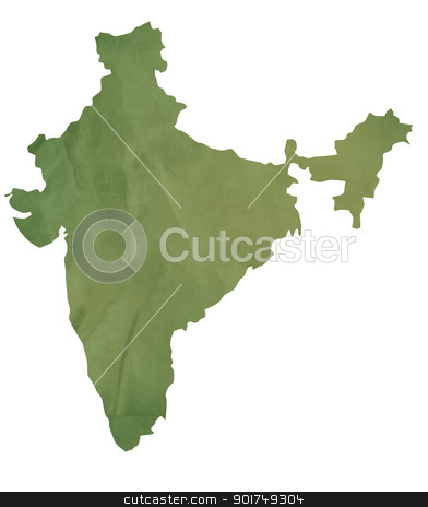 Old green map of India stock photo, Old green map of India in textured green paper, isolated on white background. by Martin Crowdy