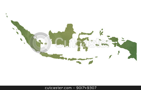 Old green map of Indonesia stock photo, Old green map of Indonesia in textured green paper, isolated on white background. by Martin Crowdy