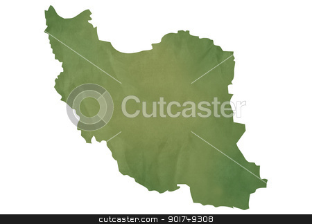 Old green map of Iran stock photo, Old green map of Iran in textured green paper, isolated on white background. by Martin Crowdy