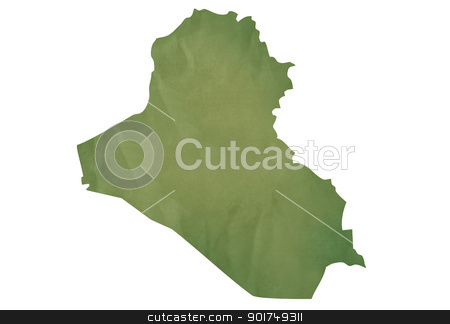 Old green map of Iraq stock photo, Old green map of Iraq in textured green paper, isolated on white background. by Martin Crowdy