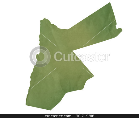 Old green map of Jordan stock photo, Old green map of Jordan in textured green paper, isolated on white background. by Martin Crowdy