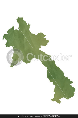 Old green map of Laos stock photo, Old green map of Laos in textured green paper, isolated on white background. by Martin Crowdy