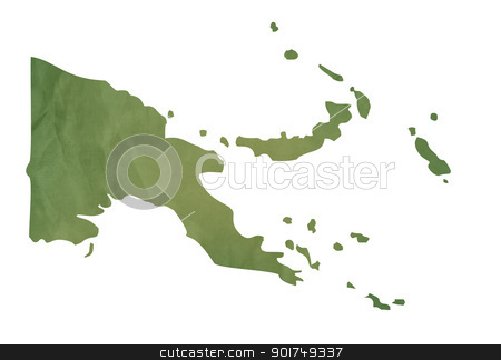 Old green map of Papa New Guinea stock photo, Old green map of Papa New Guinea in textured green paper, isolated on white background. by Martin Crowdy