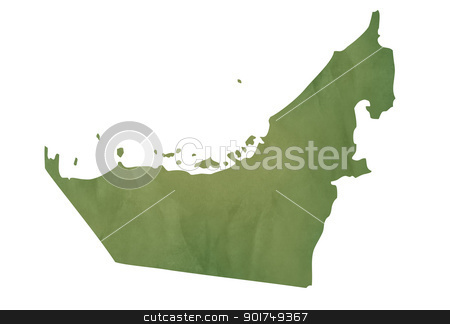 Old green map of United Arab Emirates stock photo, Old green map of United Arab Emirates in textured green paper, isolated on white background. by Martin Crowdy