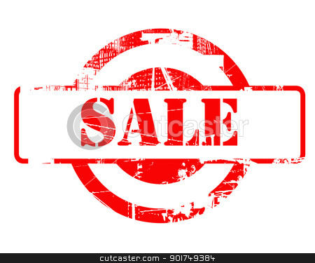 Sale red stamp stock photo, Sale red stamp with copy space isolated on white background. by Martin Crowdy
