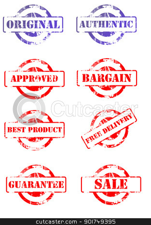 Set of business stamps stock photo, Set of business stamps isolated on white background. by Martin Crowdy