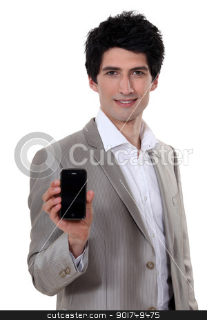 handsome young entrepreneur showing mobile phone stock photo, handsome young entrepreneur showing mobile phone by photography33