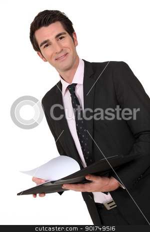 Business man holding a clipboard stock photo, Business man holding a clipboard by photography33