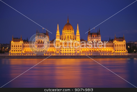 Budapest Parliament, night scene stock photo, Budapest Parliament at night with reflection in Danube river  by Ioan Panaite