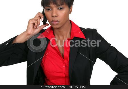 black businesswoman on the phone stock photo, black businesswoman on the phone by photography33