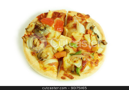 vegetarian pizza stock photo, Small vegetarian pizza isolated on white    by szefei
