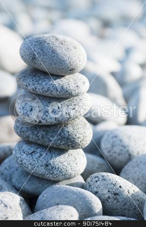 Zen. stock photo, Pile of pebble Stones with back light. by szefei