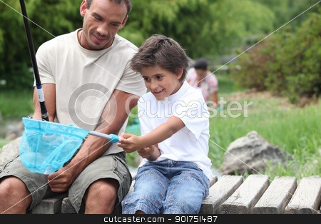 father and son enjoying fishing party by riverside stock photo, father and son enjoying fishing party by riverside by photography33