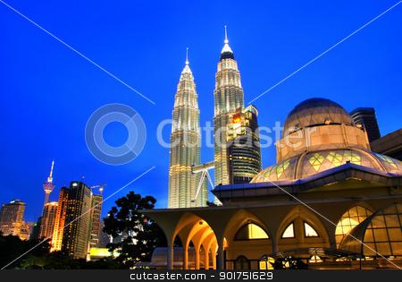 Kuala Lumpur, Malaysia  stock photo, Famous Asy-Syakirin Mosque with Petronas Towers at the background, Kuala Lumpur, Malaysia   by szefei