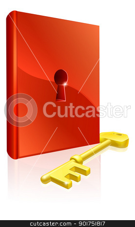 Key to learning stock vector clipart, Key to learning illustration of red book with keyhole and a gold key by Christos Georghiou