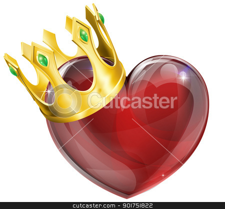 King of hearts concept stock vector clipart, Illustration of a heart symbol wearing a crown, king of hearts concept by Christos Georghiou
