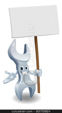 Wrench holding billboard stock vector clipart, A wrench or spanner cartoon character holding up a sign post by Christos Georghiou