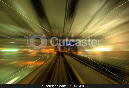 Speedy trains passing train station stock photo, Speedy trains passing train station. Focus on the rail road.    by szefei