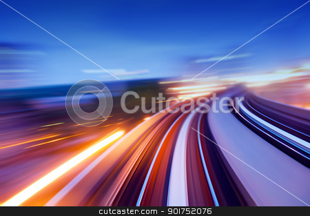 speedway. stock photo, Abstract view on elevated highway, speeding concept. by szefei