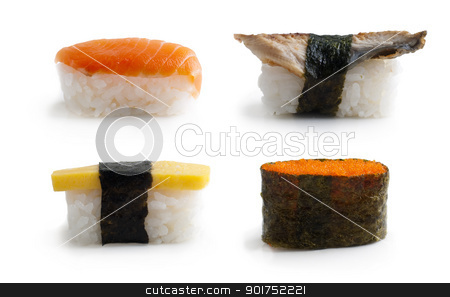Sushi. stock photo, Sushi set traditional japanese cuisine isolated on white. by szefei