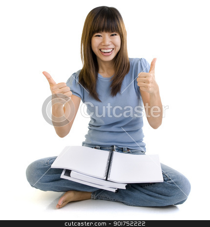 Welldone. stock photo, Asian student thumbs up with great smile, empty book ready for text. by szefei