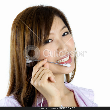 Contact Us! stock photo, Friendly Customer Representative with headset smiling during a telephone conversation. by szefei