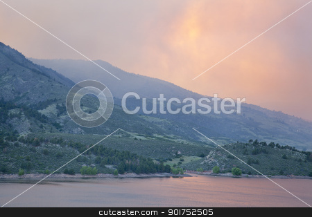 wildfire smoke near Fort Collins, Colorado stock photo, heavy smoke from High Park wildfire obscuring the sun and sky over Horsetooth Reservoir and foothills near Fort Collins, Colorado, June 10, 2012 by Marek Uliasz