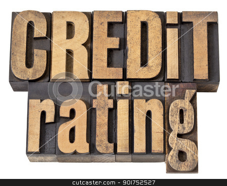 credit rating in wood type stock photo, credit rating - financial concept - isolated text in vintage letterpress wood type by Marek Uliasz