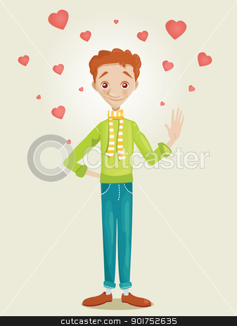 Cute boy in love stock photo, Cute boy in love, vector illustration by kariiika