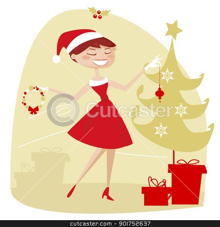 Retro christmas stock photo, Retro christmas, vector illustartion by kariiika