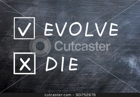 Evolve or die check boxes on a smudged blackboard stock photo, Evolve or die with check boxes drawn with chalk on a smudged blackboard by John Young