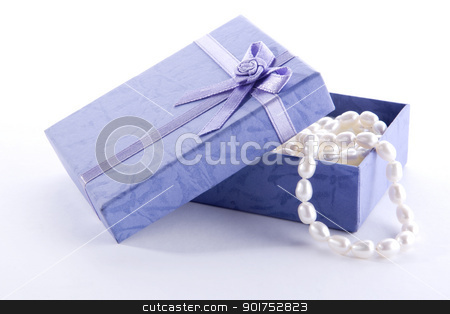 Gift for her stock photo, Pearl necklace in gift box    by szefei