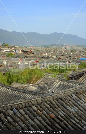 China's Yunnan province  stock photo, Rooftops of Lijiang Old Town in China's Yunnan province   by szefei