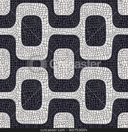 Abstract black and white pavement pattern stock vector clipart, Abstract white and black wave pavement pattern background. Vector file layered for easy manipulation and coloring. by Cienpies Design