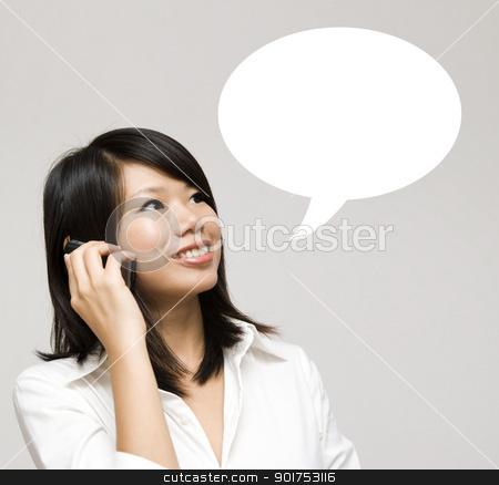 Talk. stock photo, Girl having a talk dialogue. by szefei