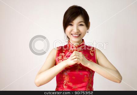 Happy Chinese New Year  stock photo, Oriental girl wishing you a happy chinese new year  by szefei