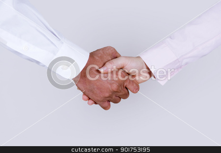 Hands shaking. stock photo, Businesswoman and Businessman hands shaking on plain background. by szefei