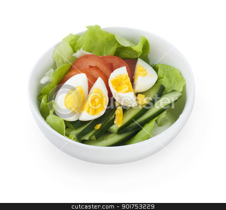Salad. stock photo, Bowl of salad on white background. by szefei