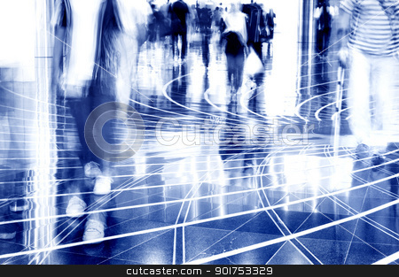 People walking thru the mall. stock photo, A shopping mall. Long exposure for intentional motion blur of people. by szefei