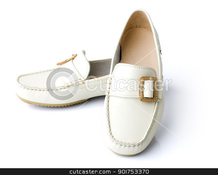 New shoes. stock photo, Pair of woman new shoe isolated on white. by szefei