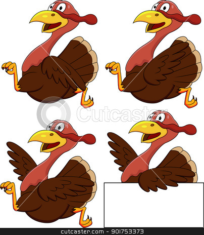 Turkey cartoon  stock vector clipart, Vector Illustration Of Turkey cartoon  by Surya Zaidan