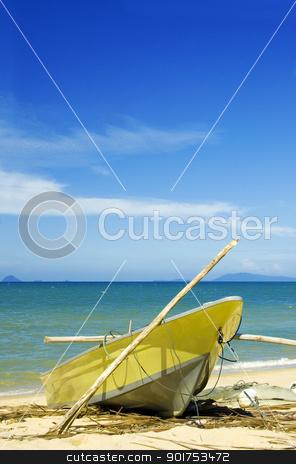 fishing boat stock photo, A fishing boat on beach  by szefei