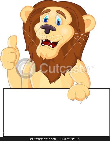 Animal cartoon with blank sign stock vector clipart, Vector Illustration Of Animal cartoon with blank sign by Surya Zaidan