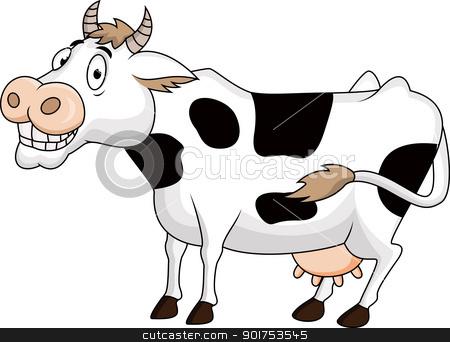 Funny cow cartoon stock vector clipart, Vector Illustration Of Funny cow cartoon by Surya Zaidan