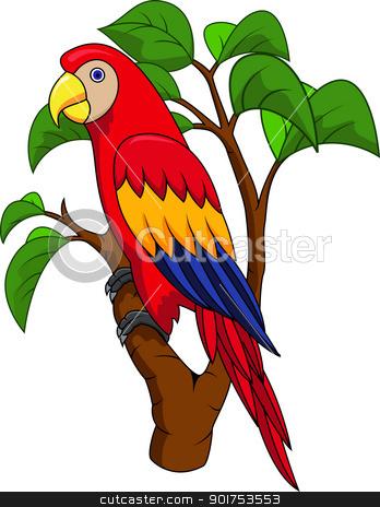 Macaw bird cartoon stock vector clipart, Vector Illustration Of Macaw bird cartoon by Surya Zaidan