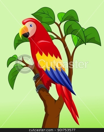 Macaw bird cartoon stock vector clipart, Vector Illustration Of Macaw bird cartoon by Surya Zaidan