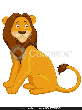 Funny lion cartoon stock vector clipart, Vector Illustration Of Funny lion cartoon by Surya Zaidan