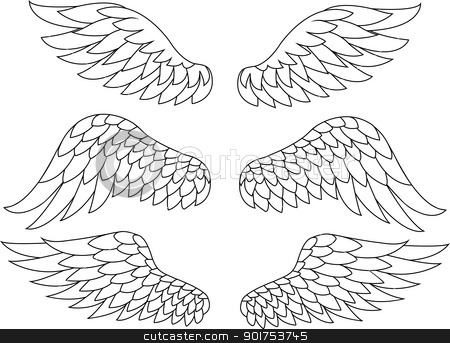 Wing silhouette  stock vector clipart, Vector Illustration Of Wing silhouette  by Surya Zaidan
