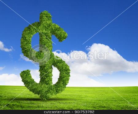 Green grass  US dollar symbol stock photo, Green grass  US dollar symbol against blue sky by Sergey Nivens